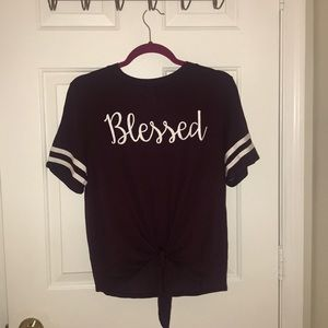 Blessed front tie burgundy top